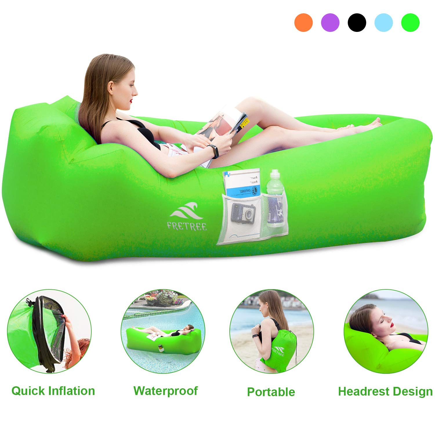 Magnificent Fretree Inflatable Lounger Air Sofa Hammock Portable Anti Air Leaking Waterproof Pouch Couch And Beach Chair Camping Accessories For Parties Creativecarmelina Interior Chair Design Creativecarmelinacom