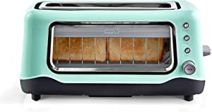 Dash Clear View Toaster: Extra Wide Slot Toaster with Stainless Steel Accents + See Through Window - Defrost, Reheat + Auto Shut Off Feature for Bagels, Specialty Breads & other Baked Goods - Aqua