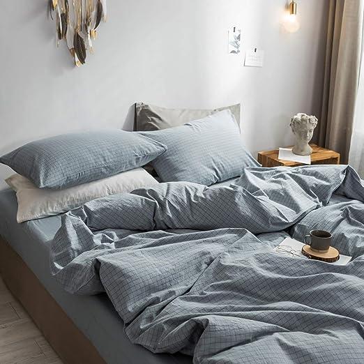 Amazon Com Zyen Blue Plaid Duvet Cover 100 Washed Cotton