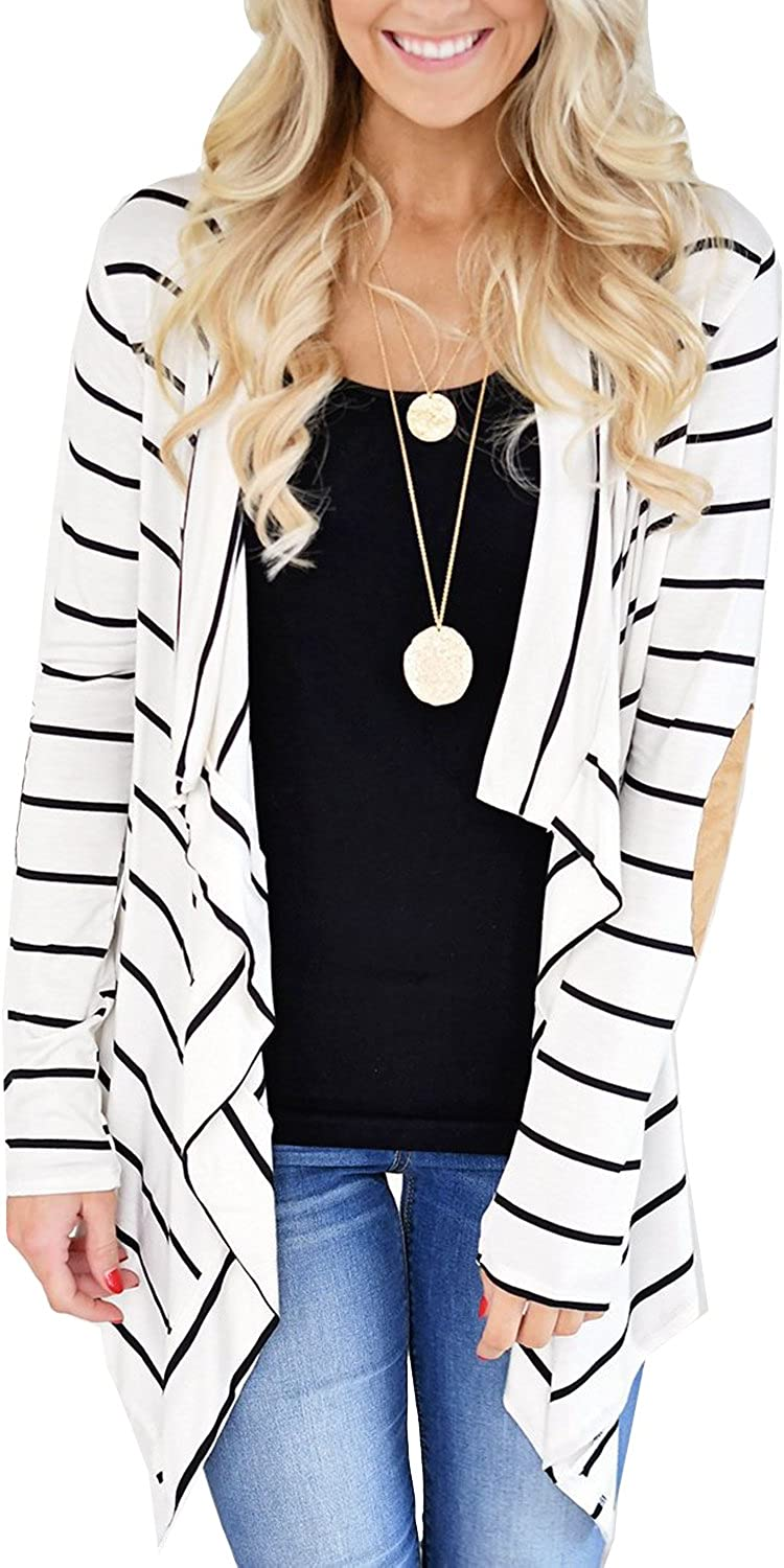 Womens Striped High Low Long Sleeve Elbow Patch Open Front Cardigans