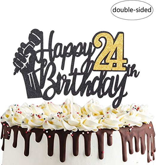 Fabulous Amazon Com Happy 24Th Birthday Cake Topper With Microphone Cheers Personalised Birthday Cards Veneteletsinfo