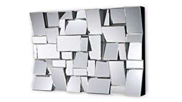mobiliermoss brens miroir design multi facettes argent 120x12x80 cm - Miroir Design