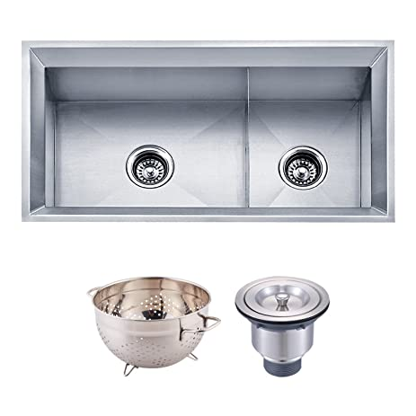 dax handmade 60 40 double bowl undermount kitchen sink 16 gauge stainless steel dax handmade 60 40 double bowl undermount kitchen sink 16 gauge      rh   amazon com