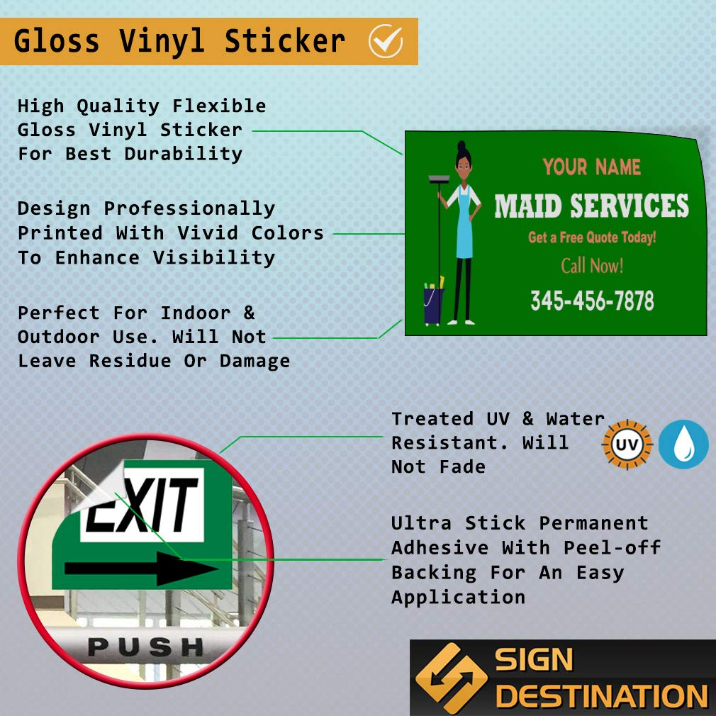 Custom Door Decals Vinyl Stickers Multiple Sizes Maid Service Phone Number Green Business Maid Services Outdoor Luggage /& Bumper Stickers for Cars Green 54X36Inches Set of 2