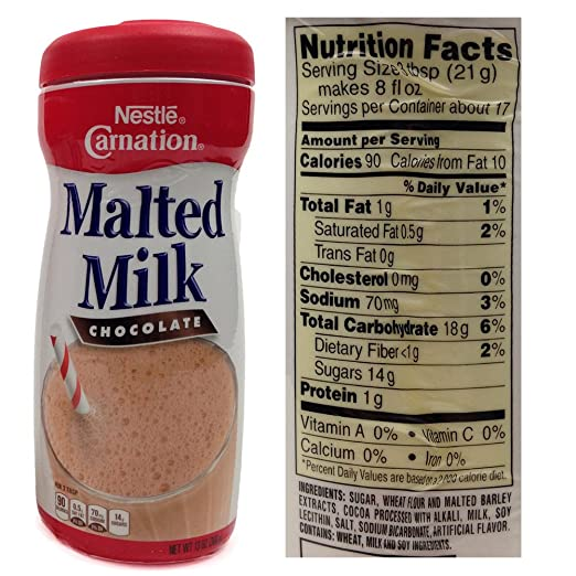 Malted milk powder nutrition