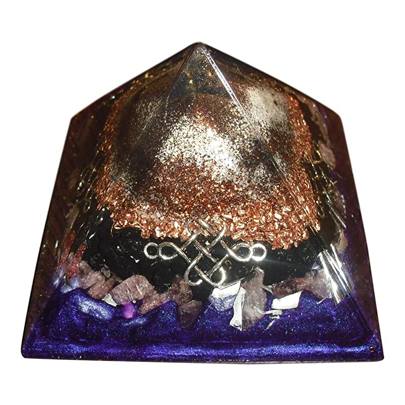 Purple Mountain Majesty Orgone Pyramid with infinity vortex spirals on all sides weighs almost a pound