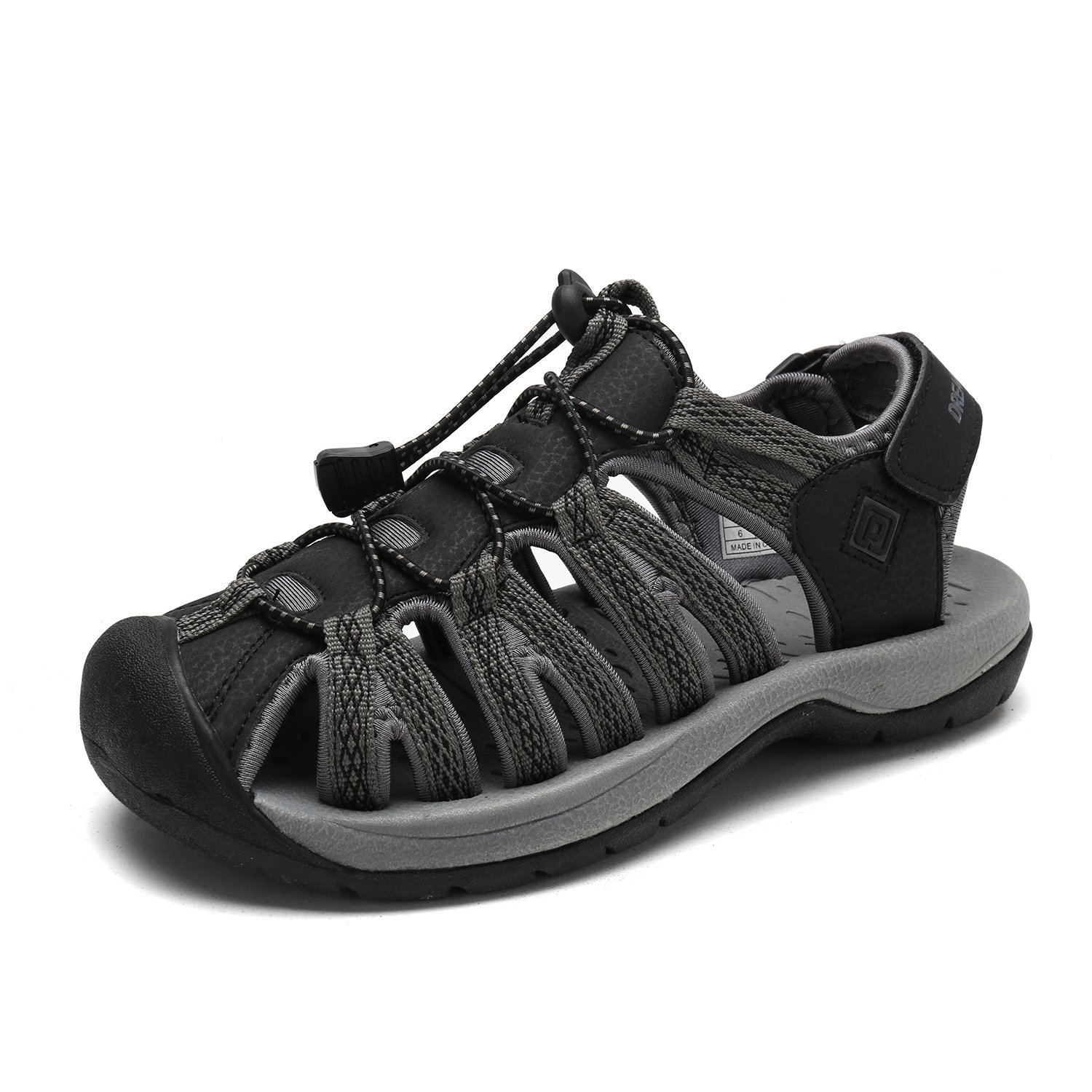 DREAM PAIRS Women's 160912-W Adventurous Summer Outdoor Sandals B077GCPGB4 5 B(M) US|Black Dk.grey