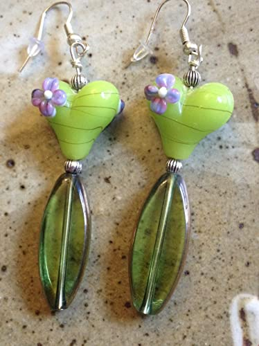 c2e2a5a96 Image Unavailable. Image not available for. Color: Lime green and lavender glass  lampwork bead handmade earrings