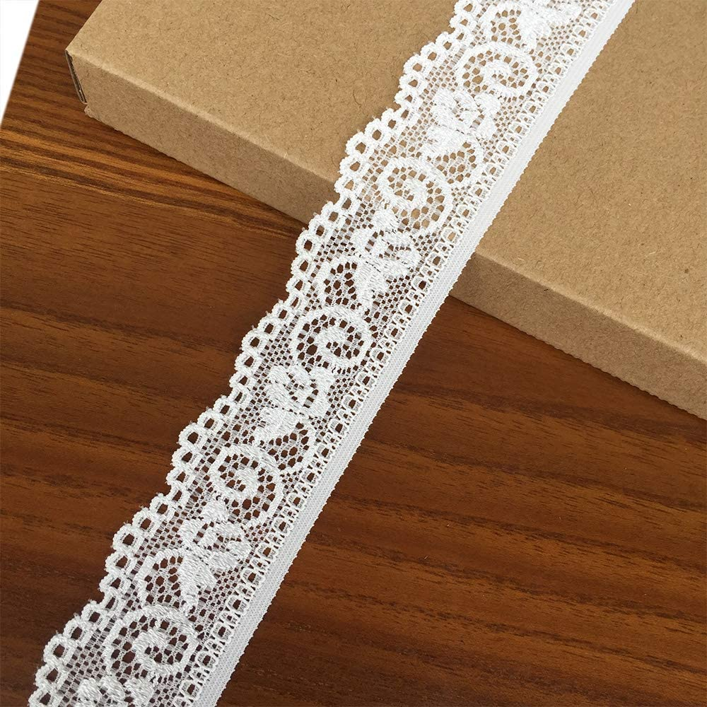 9009 White Sewing DIY Making and DIY Crafts Olive Lace 1.2 inch Wide 5 Yards White Stretchy lace Ribbon Elastic Trim Fabric with Floral Pattern for Bridal Wedding Decorations