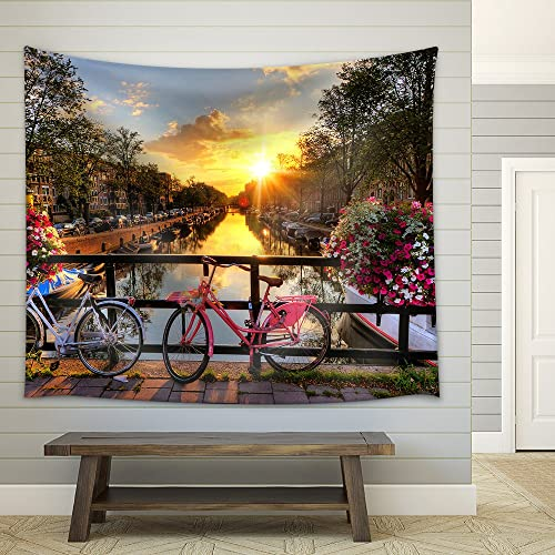 wall26 – Beautiful Sunrise Over Amsterdam, The Netherlands, with Flowers and Bicycles on The Bridge in Spring – Fabric Wall Tapestry Home Decor – 68×80 inches