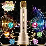 Micrófono Inalámbrico Karaoke Bluetooth con Altavoz Portátil, Máquina Portátil Reproductor de Microfono para Karaoke Niños Home Canta Partido, Soporte Echo iPhone iPad Android Smartphones PC Laptop
