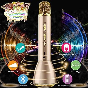Micrófono Inalámbrico Karaoke Bluetooth Niños con Altavoz Portátil,Máquina Portátil Reproductor de Microfono para Karaoke Niños Home Canta Partido,Soporte ...