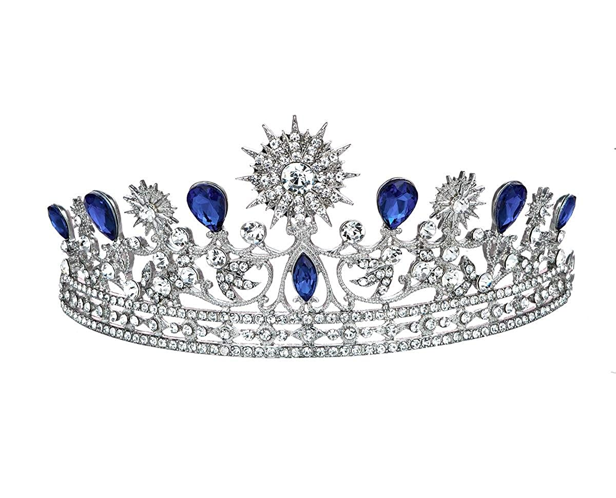 Bella-Vouge Luxury Rhinestone Bridal Wedding Tiara Princess Crown Headpiece, Silver & Royal Blue for women No.445 BV-445