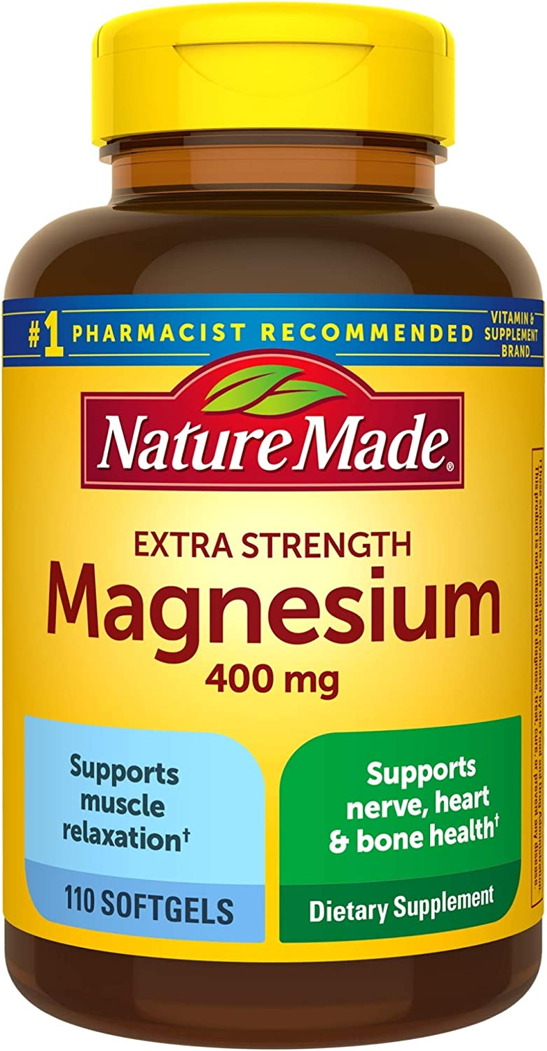 Nature Made Extra Strength Magnesium Oxide 400 mg Softgels, 110 Count for Nutrition Support
