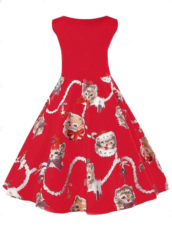 93946a684962 Women's Vintage Sleeveless Christmas Dresses Cute Cat Kitten Print Party  Swing Dress