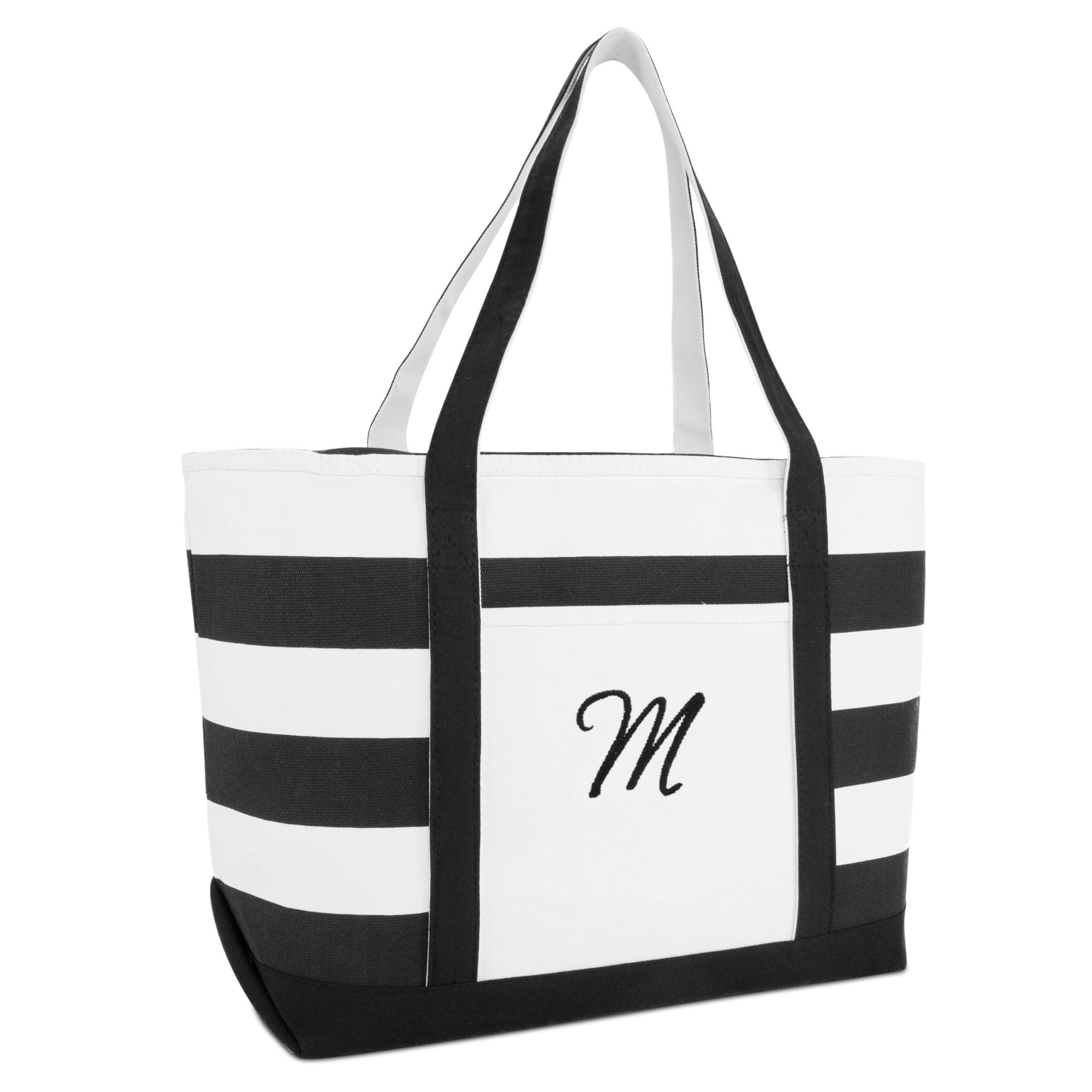 DALIX Striped Beach Bag Tote Bags Satchel Personalized Black Ballent Letter M