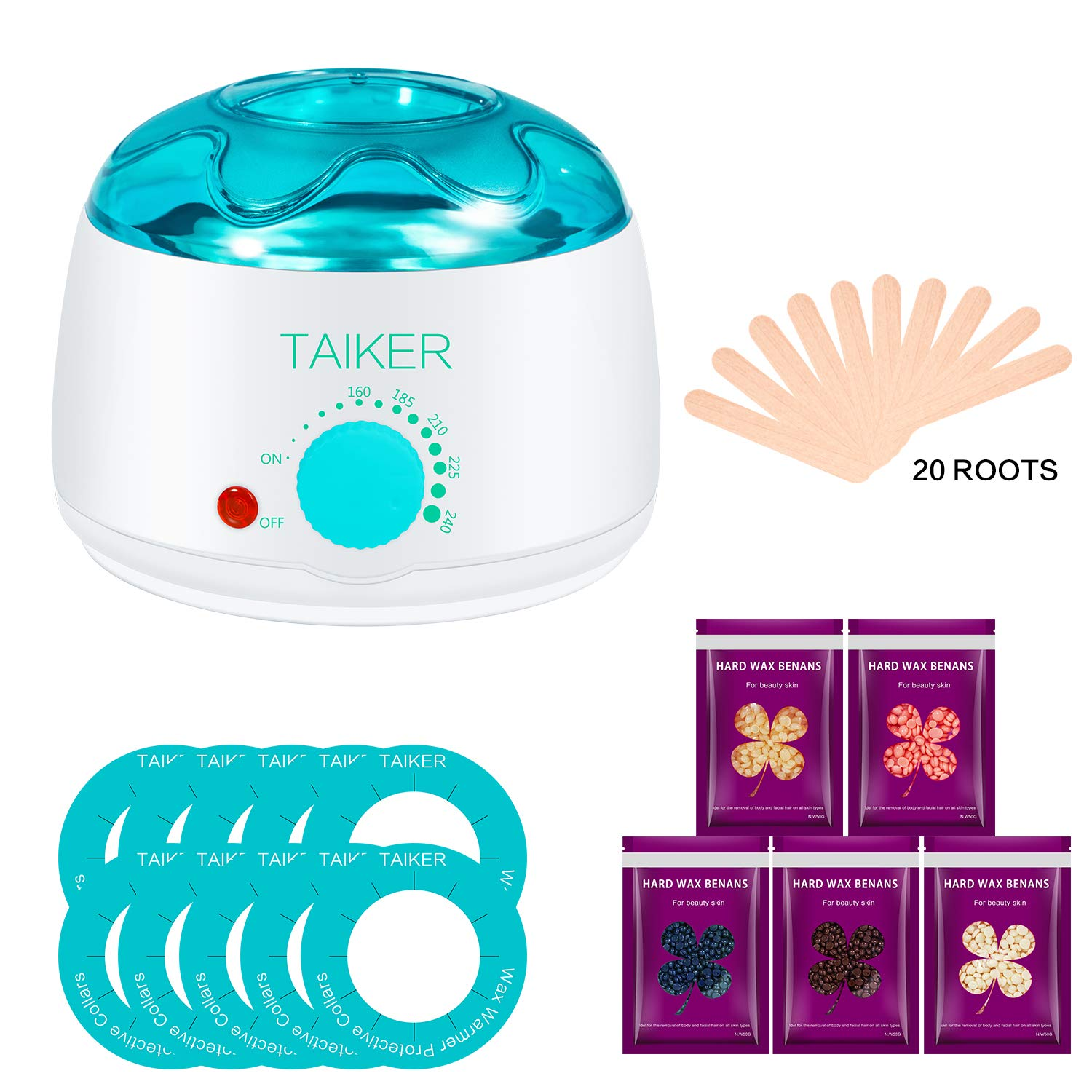 Wax Warmer Hair Removal Hot Wax Warmer Waxing Kit Electric Pot Heater for Full Body Hairs Face, Armpit, Bikini Area, Legs with 5 Hard Wax Beans and 20 Wax Applicator Sticks and 10 Protective Collars YeLang