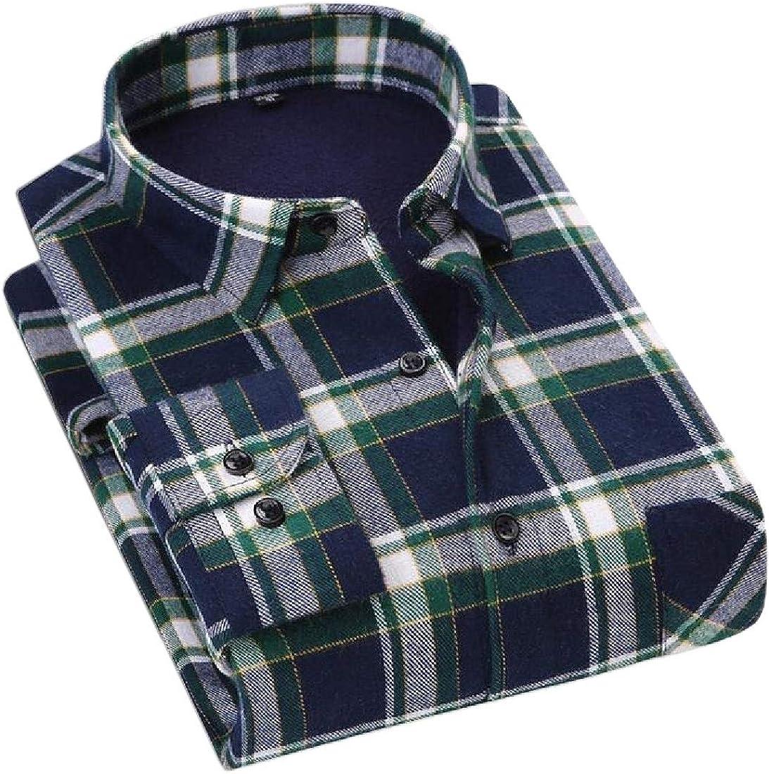 WSPLYSPJY Mens Thicken Cotton Brushed Warm Long Sleeve Plaid Fleece Casual Shirt