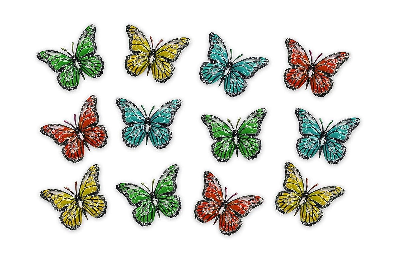 Primus 12 Multi-Colore di Piccole Farfalle di Metallo//Giardino Home Wall Art Ornamento