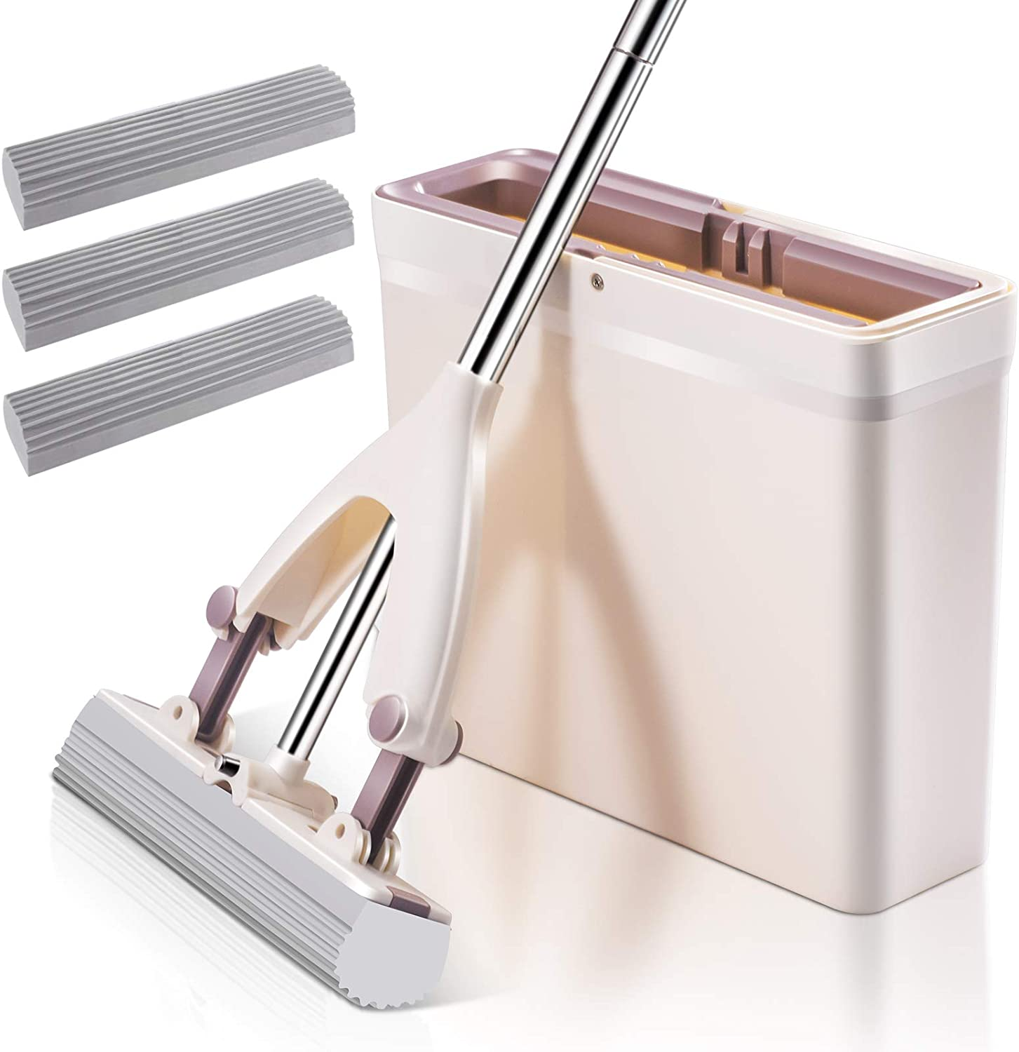 Sponge Mop and Bucket Set with 3 Pcs Super Absorbent PVA Sponge Mop Heads Self Cleaning Lazy Floor Mop Bucket with Washing Drying and Storage for Kitchen and Floor Cleaning
