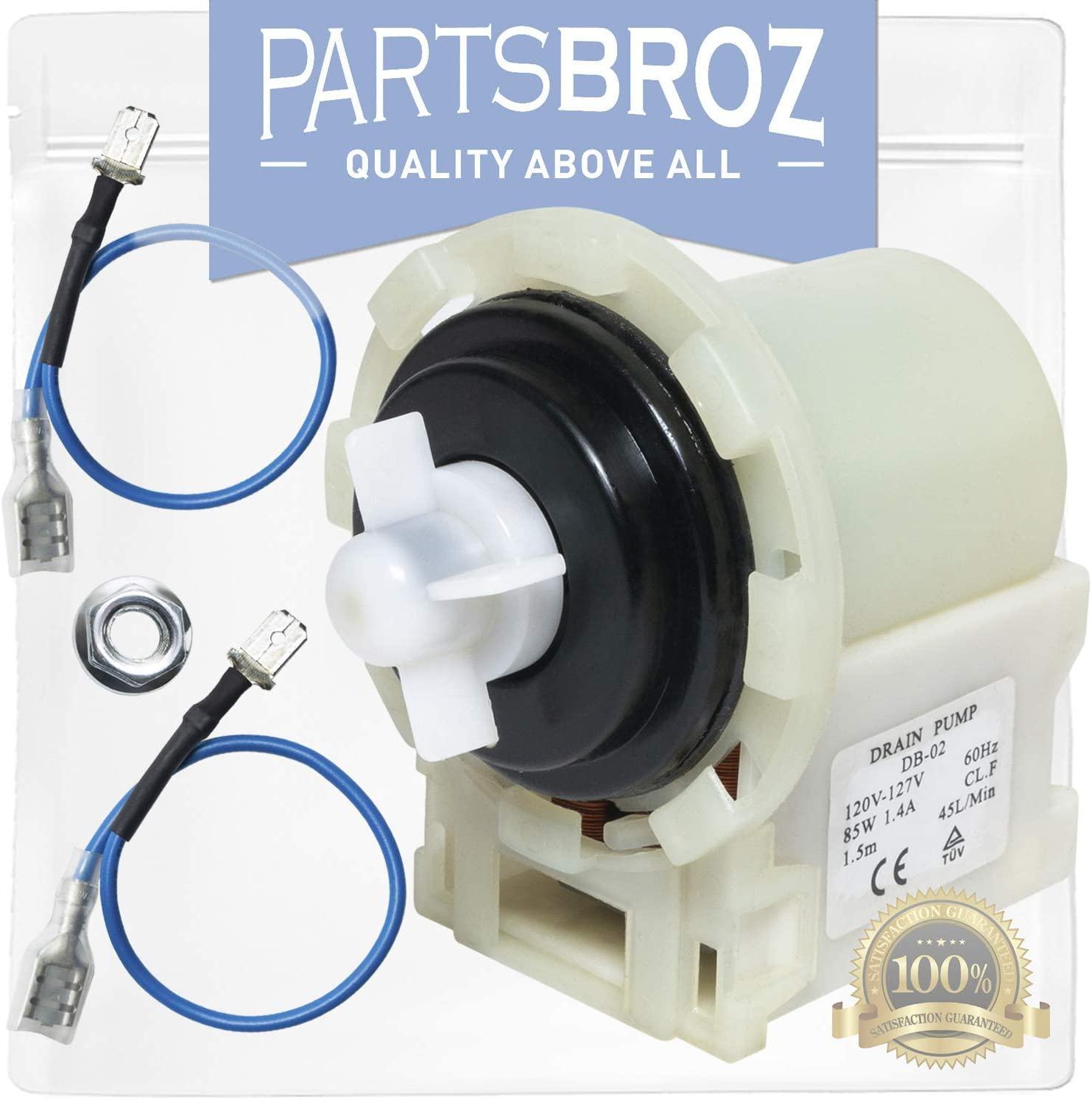 8540024 Water Pump for Whirlpool Washing Machines by PartsBroz - Replaces WPW10730972, AP6023956, W10130913, W10730972, 8540025, 8540027, 8540028, 8540996, PS11757304, W10117829, W10183434, W10190647