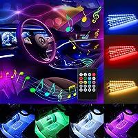 Car LED Strip Light, Komake 4 Pcs 48 LED Multicolor Music Car Interior Lights Underdash Car Mood Lighting Waterproof Kit with Sound Active Function(Wireless Remote Control+Car Charger),DC 5V