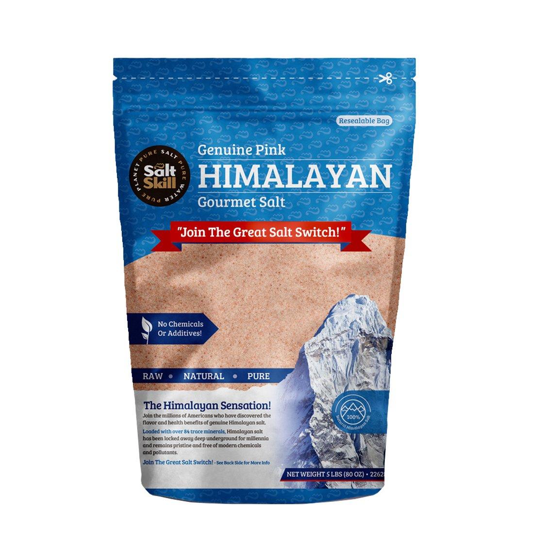 SALT SKILL Pink Gourmet Himalayan Salt Fine Grain – 5lb bag