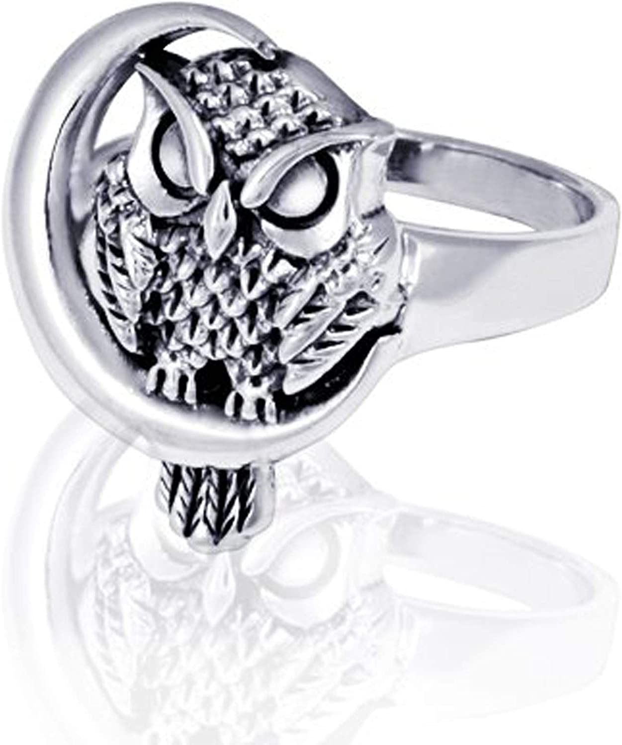 Crafts Avenue Sterling Silver 925 Oxidized Detailed Midnight Owl with Crescent Moon Ring Xmas Gifts Jewelry for Women /& Girls Size-4,5,6,7,8,9