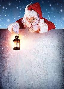 LYWYGG 6x9FT Christmas Snow Night Backdrop Santa Claus Background Oil Lamp Background Christmas Backdrop Photo Backdrop CP-197-0609
