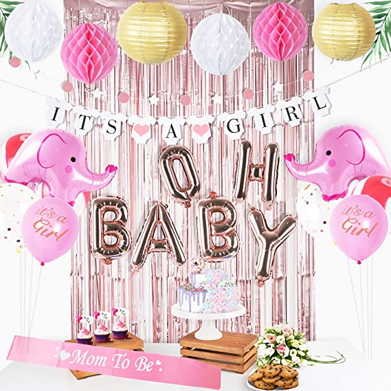 AK Giftshop Personalised Baby Shower Banner For A Boy ANY NAME Poster Party Decorations Pack of 2 Elephant