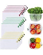Ecowaare 15PCS Bolsas Reutilizables Compra Ecológicas Bolsas Fruta Reutilizables para Almacenamiento Verduras Juguetes Lavable y Transpirable 3 Tamaños (5*S, 5*M, 5*L)