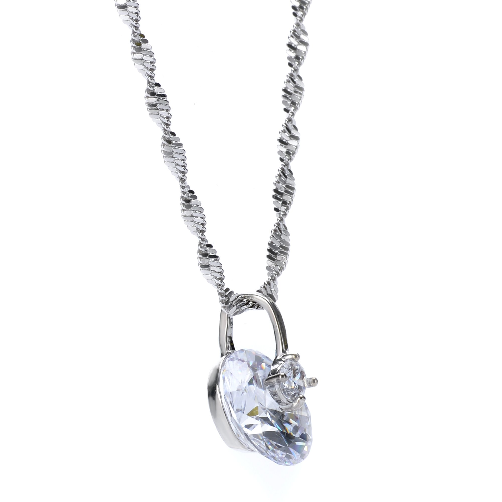 14K White Gold Plated - Cubic Zirconia Necklace for Women - Solitaire Pendant