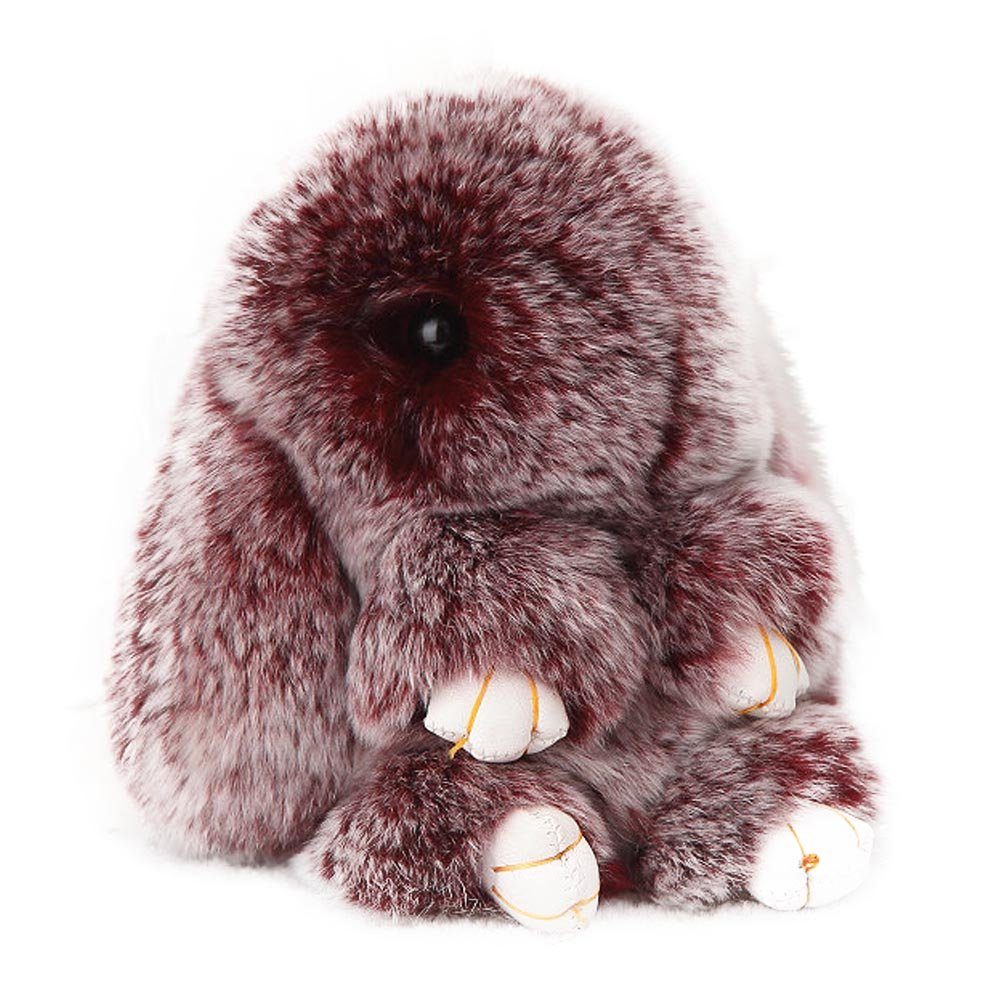 ACTLATI Soft Cute Rabbit Fur Keyring Bunny Charm Ring Keyfob Pompom Fluffy Keychain Decoration Crocking Wine Red