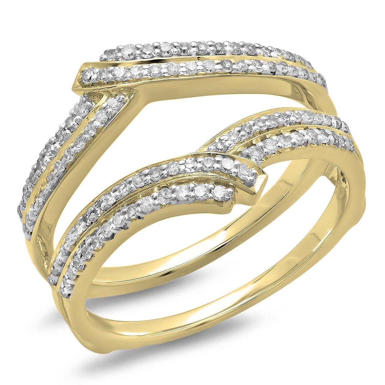 0.32 Carat (ctw) 10K Gold Diamond Ladies Wedding Band Enhancer Double Guard Ring 1/2 CT