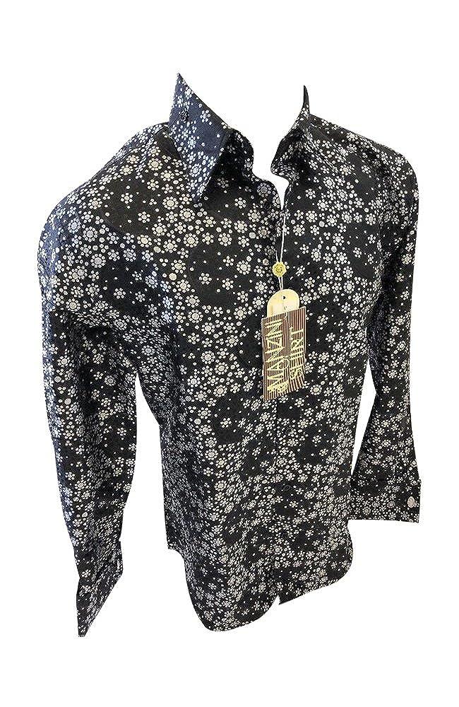 1e94d1790d0 Flash Apparel Mens Manzini Button Down Dress Shirt Black Floral Paisley  French Cuff 270 NWT at Amazon Men s Clothing store