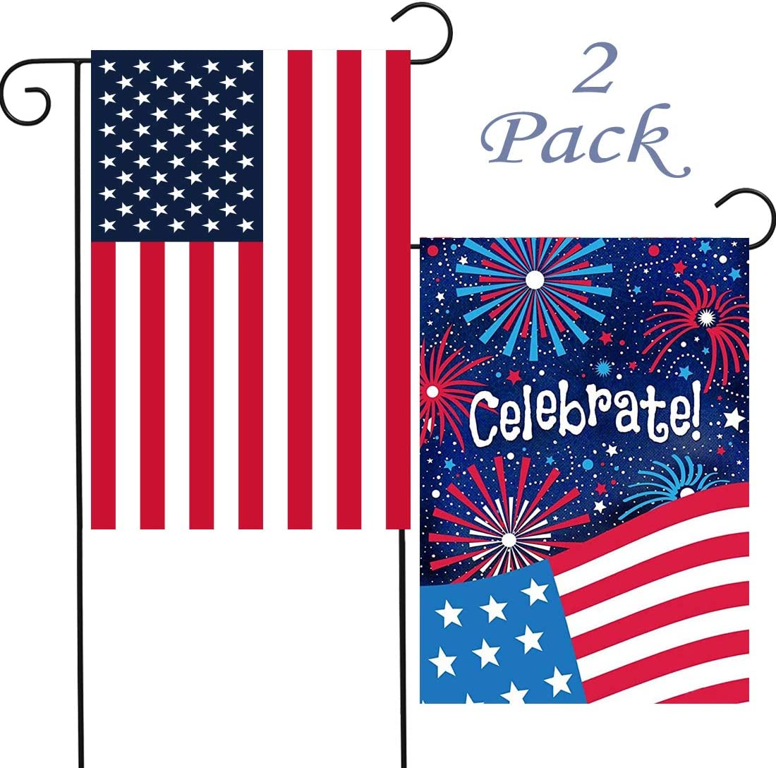 Homyplaza 4th of July Garden Flag Decorations 2Pack Double Sided Outdoor Yard Flag 18 x 12.5 inches Patriotic United States Stars and Stripes