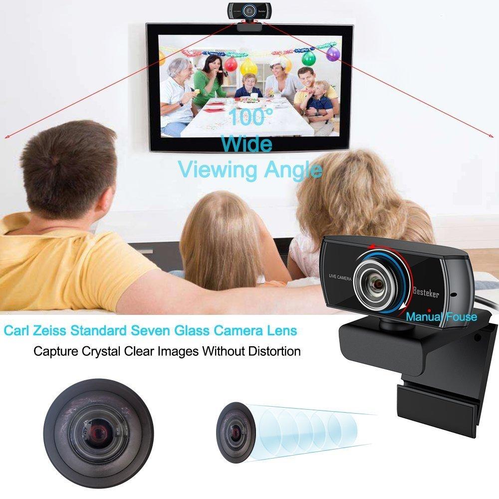 Webcam 1080P Besteker C/ámara Web Full Hd con Micr/ófono Incoporado para PC Ordenador y Laptop
