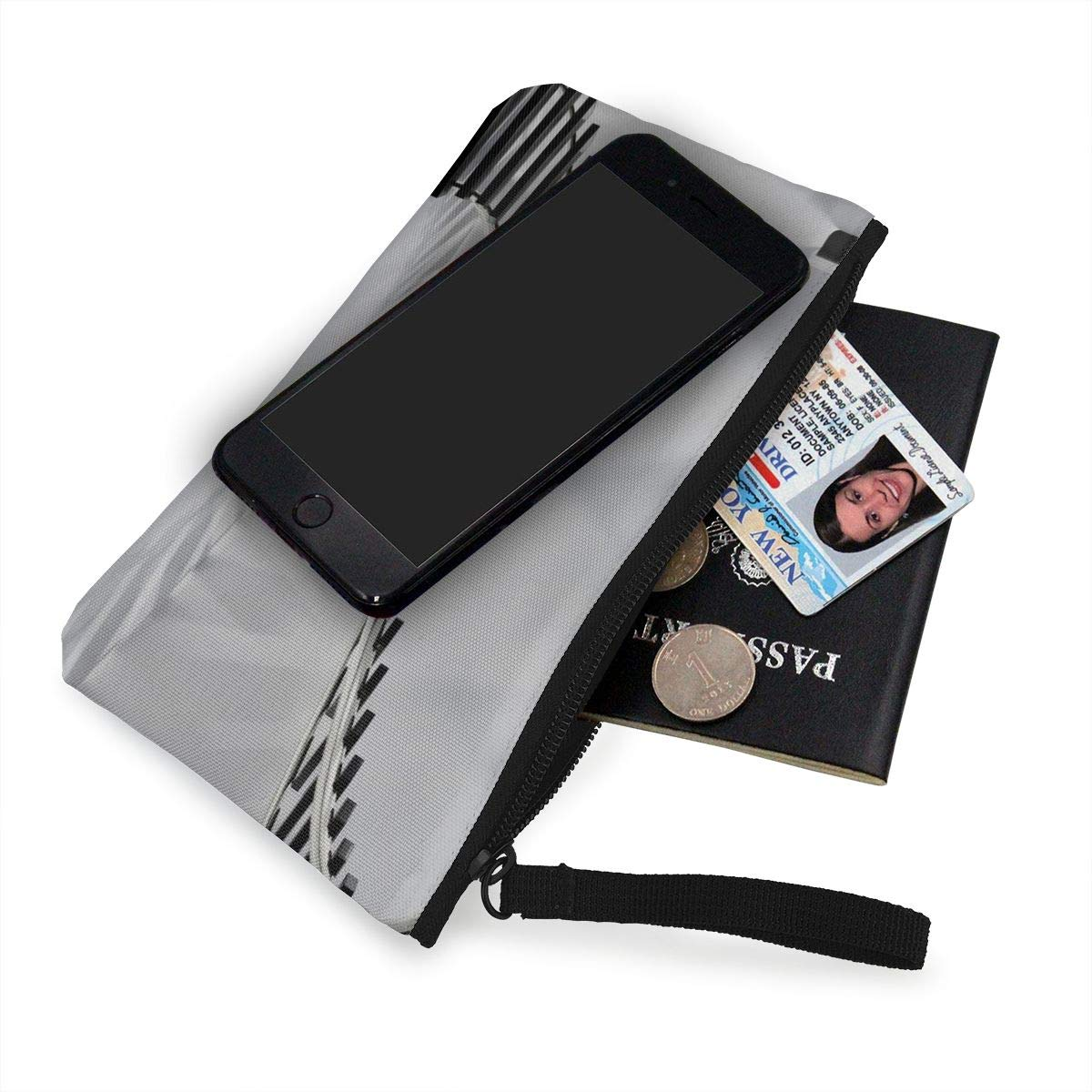 Make Up Bag,Cellphone Bag With Handle Modern Design Stairs Zipper Canvas Coin Purse Wallet