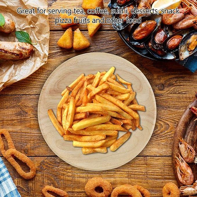 Bandeja de té redonda de madera para aperitivos, frutas, zumo, agua, café, platos, con bordes elevados, grano de madera natural para el hogar, cocina, ...