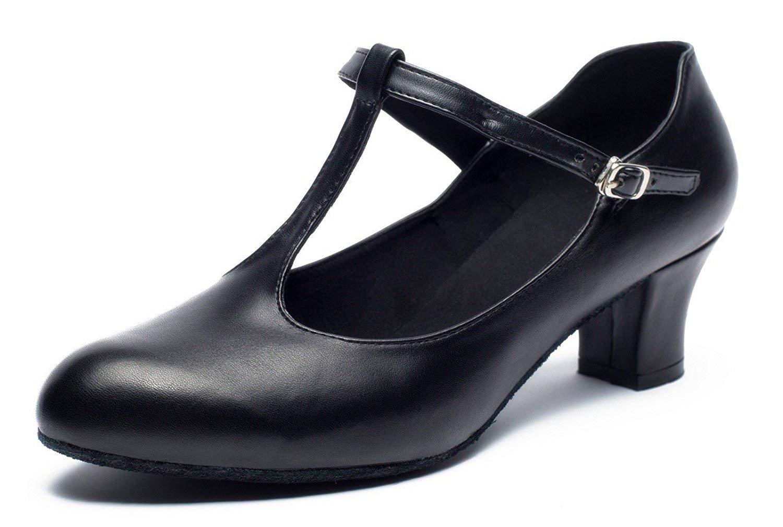 Joocare Womens Professional Latin Salsa Ballroom Modern Character Dance Shoes Ladies Party Wedding Pump Shoes (11 B(M) US, Black)