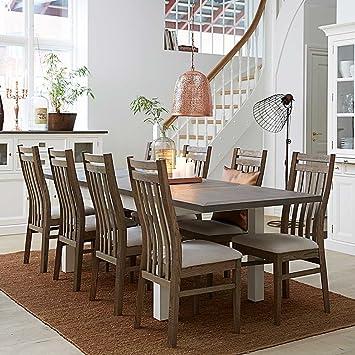 Pharao24 Esszimmer Sitzgruppe Mit Ausziehbarem Tisch Braun Weiß