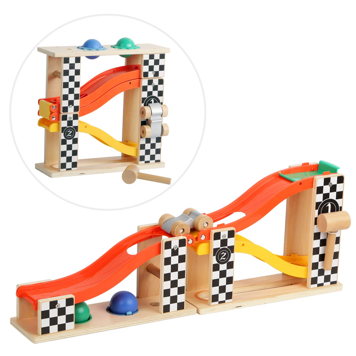 TOP BRIGHT Pound and Roll Tower with Hammer and 2 Balls Ramp Racer Wooden Toy for Toddlers SUN TOP