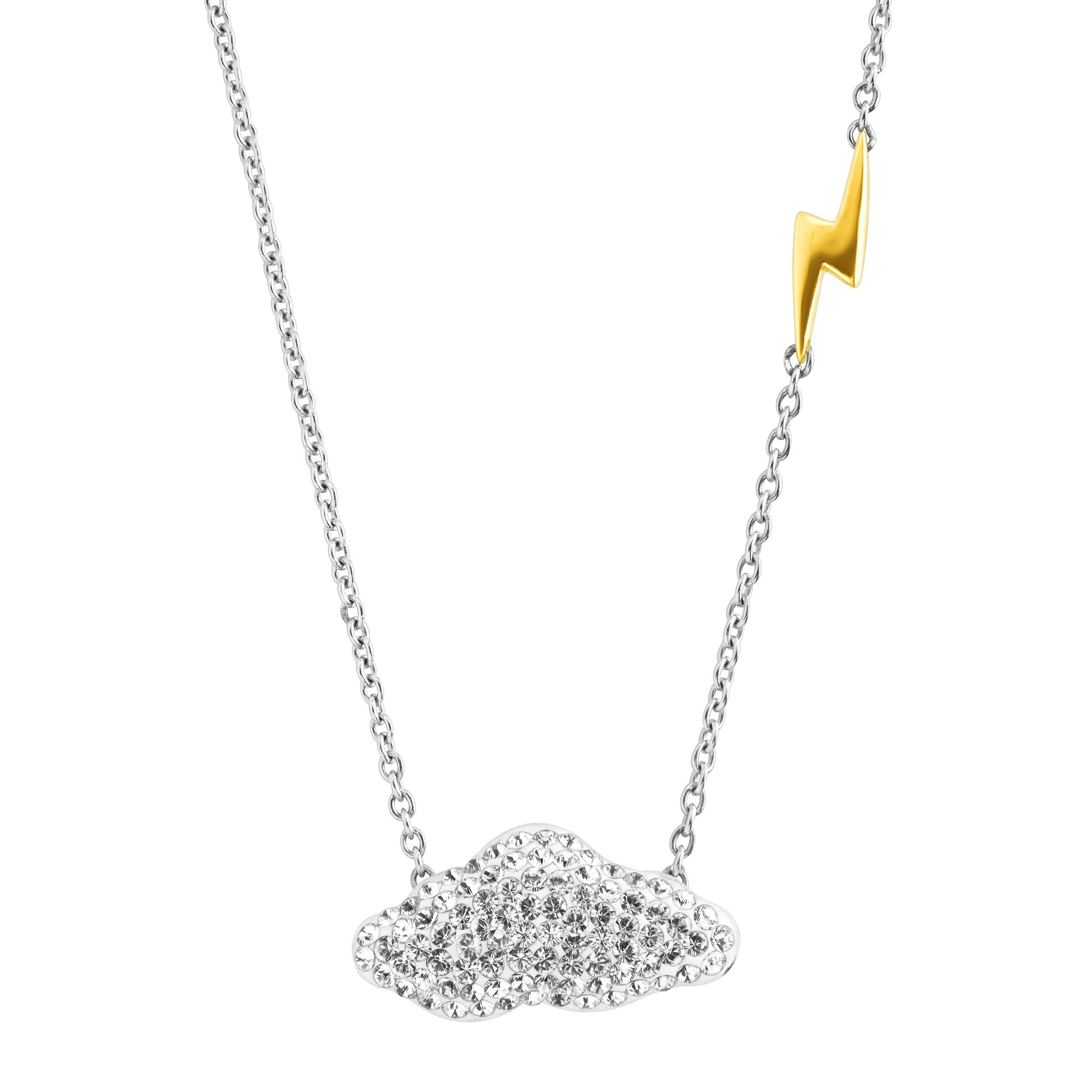 Crystaluxe Cloud & Thunderbolt Necklace with Swarovski Crystals in 18K Gold-Plated Sterling Silver