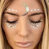 LINGPAR Face Tattoo Sticker Metallic Shiny Temporary Water Transfer Tattoo for Professional Make Up Dancer Costume Parties, Shows Gold Glitter