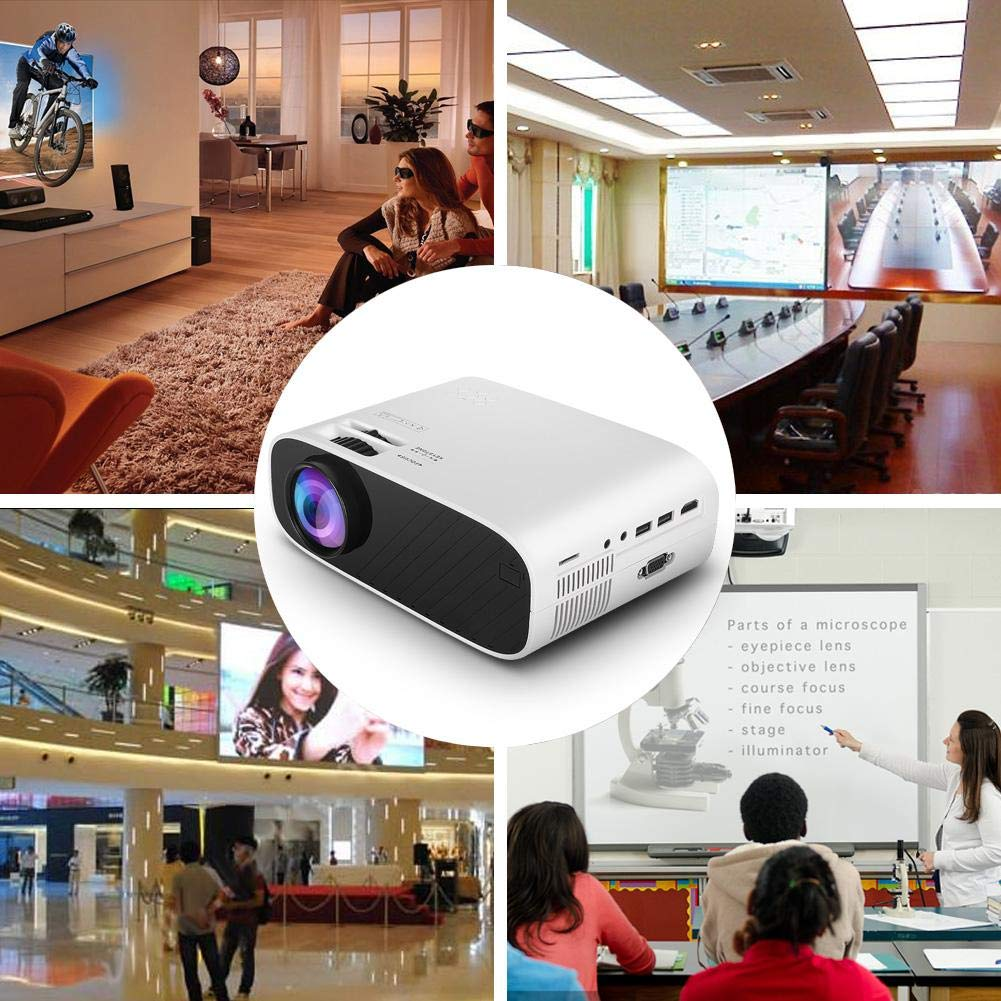 VGA Mini Projector Supported 1080P 4000 Lux Portable Movie Projector with 30,000 Hrs LED Full HD 176 Display Compatible with HDMI SD for Home Theater USB AV Projector US