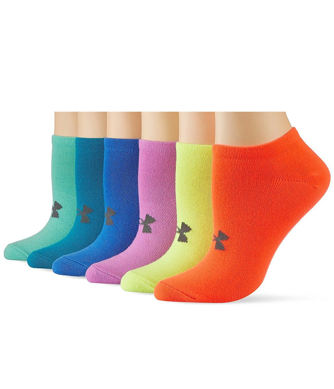 Under Armour Girls Solid 6pks Noshow Socks (Pack of 6) 1312604