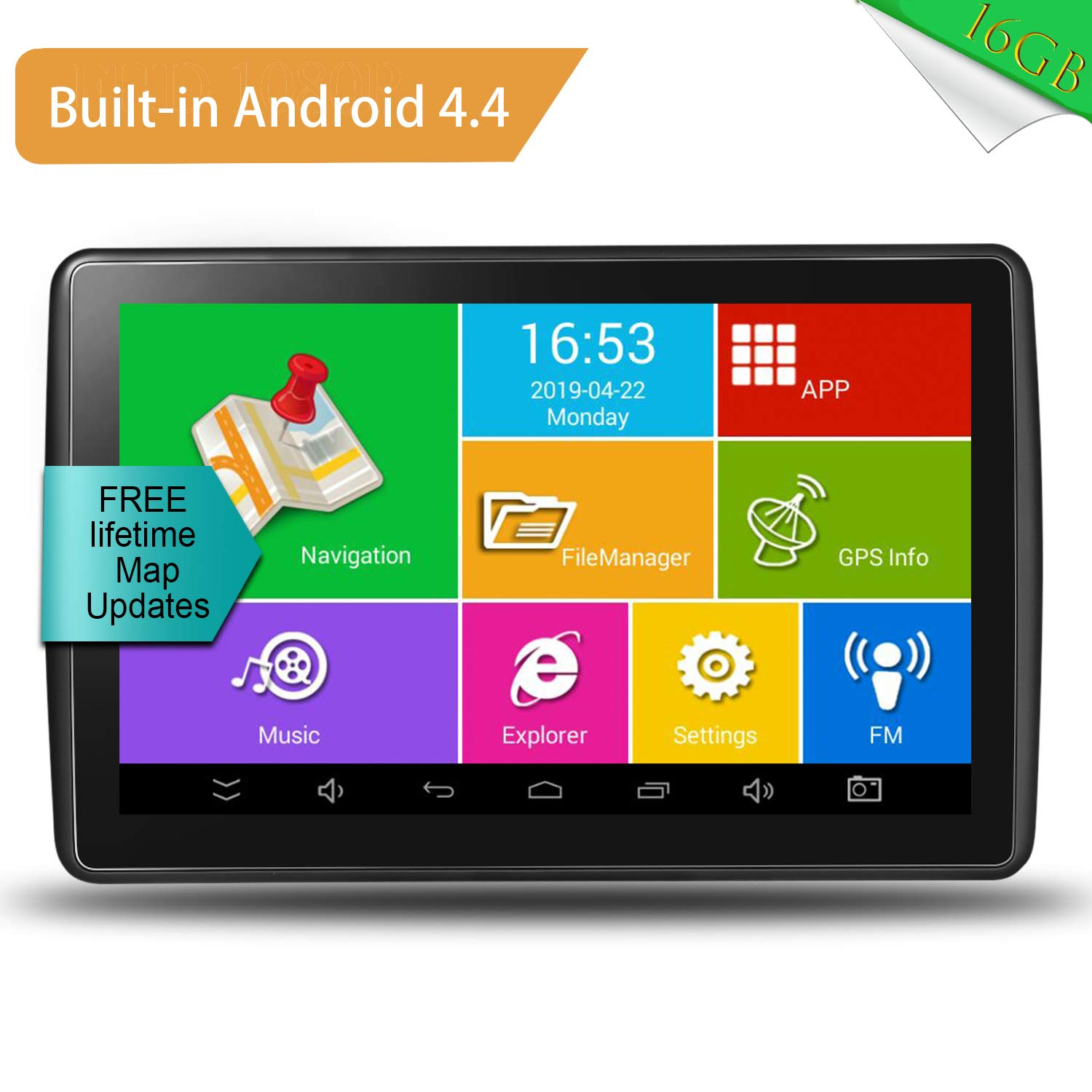 7 Inch 16GB HD Touch Screen Built-in Android System GPS Navigation System Spoken Turn-by-Turn Directions for Car Vehicle GPS Navigator with Lifetime Map Update GPS Navigation for Car