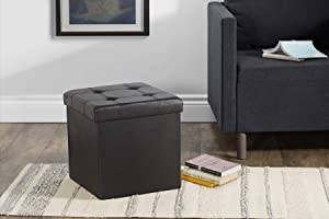 """Fresh Home Elements FHE 15"""" Tufted Folding Storage Ottoman Cube, 15 x 15 x 15, Black Vegan Faux Leather, Easy Transformation for Extra Storage, Seating, and Foot Rest, Family, Guests, Decluttering"""
