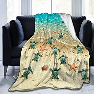 """MSGUIDE Turtle Starfish Beach Flannel Throw Blanket for Kids Adult, Anti-Pilling Cozy Bed Blanket Lightweight Warm Microfiber Blankets for Couch/Bed/Sofa/Office(50"""" x 40"""")"""