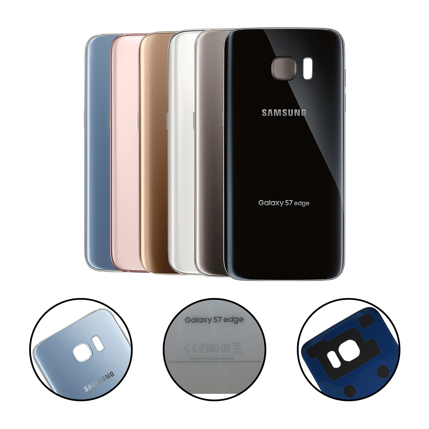 Cell4less Replacement Back Glass Cover Battery Door Samsung Galaxy S7 Edge G935 W Pre Installed Adhesive Oem All Models Carriers 2